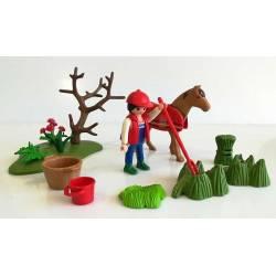Playmobil granjera con caballo